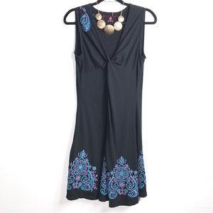 Johnny Was LA Navy Sleeveless Dress Embroidered